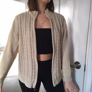 Vintage beige cable knit zip up sweater
